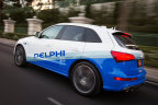 """Last year, Delphi's automated car drove itself across the country. In January at CES, Delphi will demonstrate the next step in something it is calling V2Everything. Delphi's car will """"talk"""" to other cars, pedestrians, cyclists crossing the street, traffic lights and signs, parking garages, coffee shops and burger joints. (Photo: Business Wire)"""
