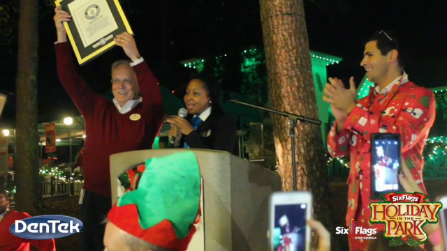 (Instagram and Facebook Video - 15 Seconds) @SixFlagsOverGeorgia sets the #GUINNESSWORLDRECORDS title for Most Couples Kissing Under the Mistletoe at Once. More than 200 couples were a part of history. #HolidayInThePark with its more than one million LED lights and 24 rides continues select nights through January 3. #NothingMerrier @DenTek