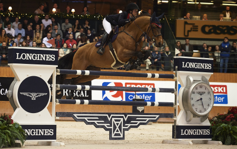 Lisa Nooren (NED) on Vdl Groep Centora De Wallyro winner of the Longines Grand Prix at 2015 CSI A Co ...