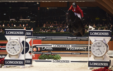 Hans-Dieter Dreher (GER) on Theodore Manciais, second of the Longines Grand Prix of 2015 CSI A Coruña's winter edition (Photo: Business Wire)