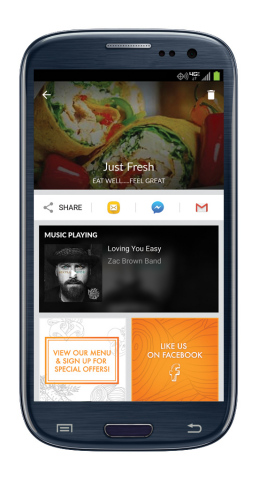 When customers Shazam Mood's custom music at Just Fresh, they receive a custom branded result. (Graphic: Business Wire)