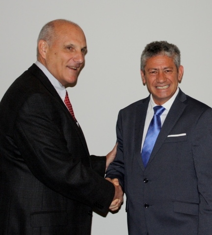 Mark Vorsatz and Juan Landa at the signing of the agreement between Andersen Global and Landa Consul ...