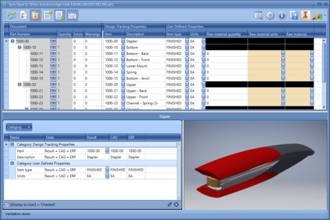 The Agni Link Dashboard simultaneously displays tree view of the Bill of Materials being integrated, as well as a component pane that gives a more detailed view of the component data, including a thumbnail image that can be updated in the ERP system. (Graphic: Business Wire)
