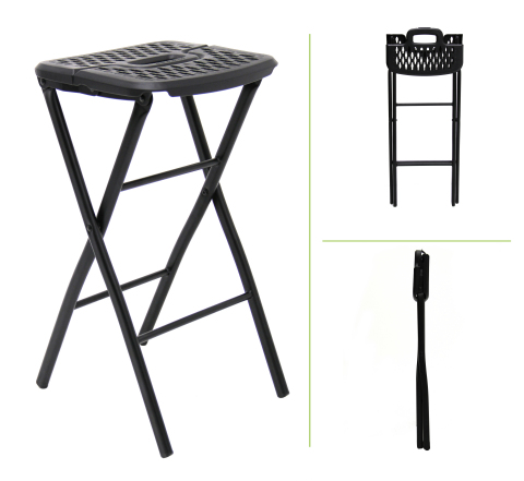 Suited for a variety of home, entertainment, and travel uses, the Flex-One Folding Stool weighs only 5 lbs. and stands 24 inches high when set up. The stool folds to a remarkable 2.5-inch width for storage. A heavy-duty steel stool frame is topped with a stain-resistant, 13-inch wide plastic flex seat. (Photo: Business Wire)