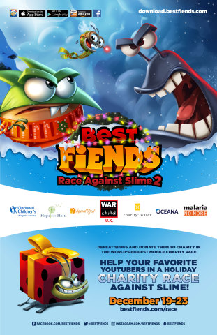 Help Your Favorite YouTubers in a Holiday Charity Race Against Slime With Best Fiends! (Graphic: Business Wire)