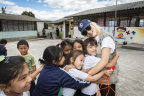 Multi-Grammy Award winner Christina Aguilera visited with children in Ecuador while on a humanitarian trip with the United Nations World Food Programme (WFP).  While in Ecuador, Aguilera filmed a new PSA for Yum! Brands World Hunger Relief effort that raises awareness, volunteerism and funds for WFP and other hunger relief agencies. Visit www.HungertoHope.com to learn more and donate. (Photo: Business Wire)