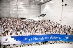 Honda Aircraft Company associates celebrate the first HondaJet delivery. (Photo: Business Wire)