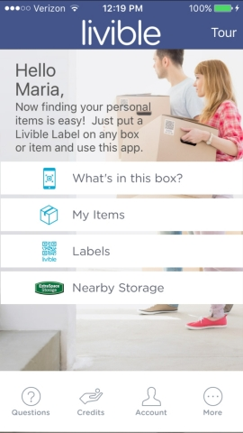 Screenshot of Livible Labels app. (Photo: Business Wire)