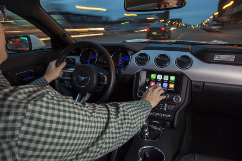 Ford is expanding its SYNC® connectivity system, adding Apple CarPlay, pictured, Android Auto™, 4G LTE and several new AppLink™ apps to help millions of consumers stay connected behind the wheel and even when they are away from their cars. (Photo: Business Wire)