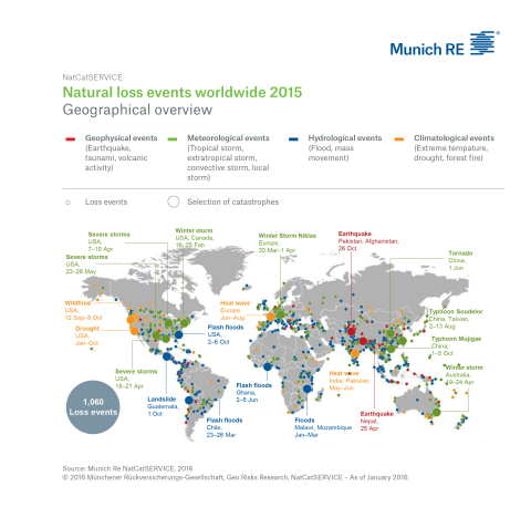Worldwide Nat Cat Loss Map 2015 (Graphic: Business Wire)