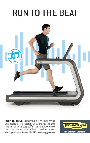 Technogym previews the world's first music interactive treadmill at CES 2016 (Graphic: Business Wire)