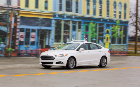Ford Motor Company is tripling its fleet of Fusion Hybrid autonomous research vehicles this year – making the company's fully autonomous vehicle fleet the largest of all automakers – and accelerating the development and testing of its virtual driver software in both urban and suburban environments. (Photo: Business Wire)