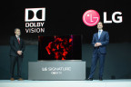 Giles Baker, right, Senior Vice President, Broadcast Business Group of Dolby Laboratories Inc., and David VanderWaal, left, Vice President, Marketing, LG Electronics USA announced LG 2016 OLED TVs and flagship Super UHD TV featuring Dolby Vision technology at the 2016 Consumer Electronics Show (CES) in Las Vegas, NV, January 5, 2016. LG will soon have Dolby Vision enabled televisions around the world. (Photo: Business Wire)