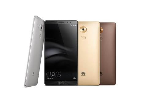 Huawei Mate 8 is available in four elegant colors: champagne gold, moonlight silver, space gray and mocha brown. (Photo: Business Wire)