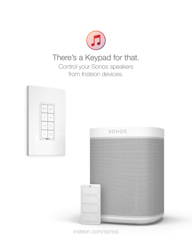 Control Sonos Speakers from the Insteon Hub app, wall keypads, wireless remotes and sensors (Graphic: Business Wire)