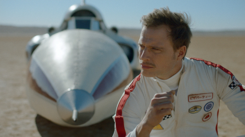 """""""Rocket Car"""" - Amidst an epic desert landscape, our Legendary Man doesn't let speed nor lack of engineering degree stop him from taking life ... and Odor Blocker ... by the wheel. (Photo: Business Wire)"""