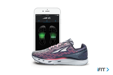 Altra IQ powered by iFit smart shoe transmits real-time gait analysis to your smartphone or iFit watch (Photo: Business Wire)