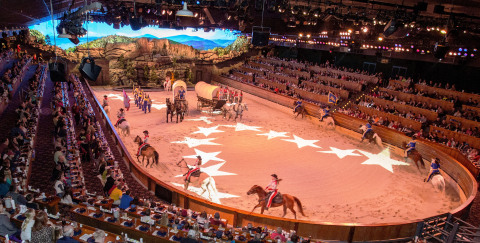 Thanks to the LED wall backdrop, guests at Dolly Parton's Dixie Stampede Dinner Attraction are transported deep into the foothills of the Great Smoky Mountains. (Photo: Business Wire)