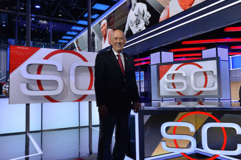 ESPN Founder Bill Rasmussen, shown here on the ESPN Sports Center set in Bristol, Connecticut in July 2014, has launched his newest venture, FEVR Tech. (Photo courtesy of ESPN.)