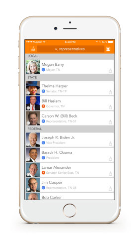 When a user enters their address, icitizen will display their elected representatives at the local, state and federal level. Users can access their reps' profiles to learn more about their voting records and stances on the issues they care about. (Photo: Business Wire)