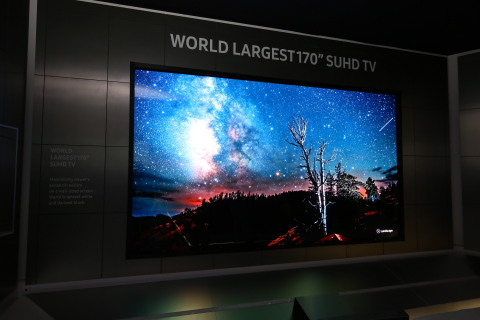 """Samsung's """"Future TV Zone"""" at CES 2016 includes design concepts that highlight the capabilities and possibilities of customization including the world's largest SUHD TV, a 170-inch display that utilizes the Modular display technology together."""
