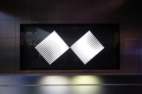 """Samsung's """"Future TV Zone"""" at CES 2016 includes design concepts including the transformable TV that can change its shape based on the content it's displaying, shifting from a 16:9 screen ratio to a 21:9 screen, simply by splitting the screen into two parts and reassembling on the sides when you decide to watch a wide screen video like a movie."""