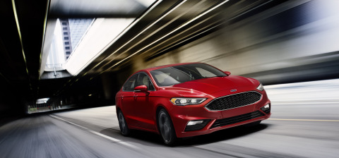 The new Ford Fusion V6 Sport, pictured, and the new Fusion Platinum add to a lineup featuring three EcoBoost® engine choices, along with two hybrids, Fusion Hybrid and Fusion Energi plug-in hybrid - something neither Toyota nor Honda offers midsize sedan shoppers. (Photo: Business Wire)