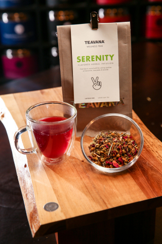 Teavana launches seven new wellness teas, giving customers an easy and delicious way to support a healthy lifestyle all year long. Serenity, a blend of chamomile, orange and rose petals, will help you unwind before bed. Others, like Defense are an excellent source of vitamin C. Teavana's new wellness line is available in more than 350 stores throughout North America and on www.teavana.com. (Photo: Business Wire)