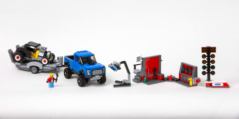 For the kid in all of us, Ford is working with LEGO Speed Champions to bring the excitement of the racetrack to your living room with first-ever F-150 Raptor, pictured, and Mustang LEGO sets. Sets will be available for purchase March 1 in LEGO stores and Toys 'R' Us stores nationwide. (Photo: Business Wire)