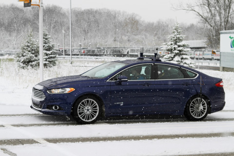 Ford Motor Company is conducting the industry's first autonomous vehicle tests in snow-covered envir ...