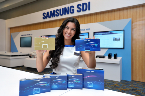Samsung SDI introduced new battery products include the prototype of high energy density battery cel ...