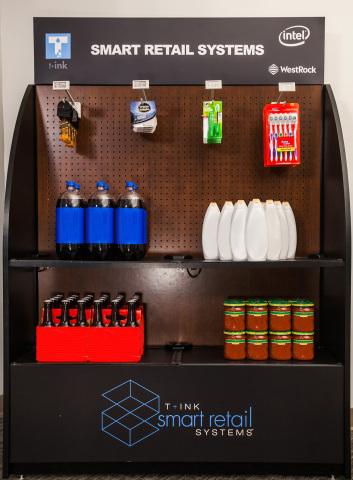 WestRock endcap merchandising display featuring T+ink smart shelf and smart peg technology (Photo: B ...