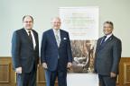 Christian Schmidt, Federal Minister of Food and Agriculture, Germany, Martin Richenhagen, AGCO Chairman, President & CEO and Hon. Given Lubinda, Minister of Agriculture & Livestock Zambia at the AGCO Africa Summit 2016. (Photo: Business Wire)