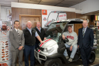 Left to right: Eric Olsavsky, Ohio State IMG Sports Marketing; Tom Streacker, Streacker Tractor Sales, Inc.; Tony Streacker, Streacker Tractor Sales, Inc.; Larry McCloud, Winner; Steven C. Payn, Kubota Tractor Corporation (Photo: Business Wire)