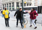 In honor of Butterfinger boldly offering pro football players up to $50,000 to pay for fines incurred for excessively celebrating in the three final games of the pro season, comedian Billy Eichner and pro football legend Terrell Owens ambush New Yorkers, asking them to showcase their boldest touchdown celebrations. Check out the video at www.youtube.com/butterfinger. (Stuart Ramson/AP Images for Butterfinger)