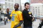 Comedy and Football collide when Billy Eichner and pro football legend Terrell Owens team up with Butterfinger to star in the brand's Bolder than Bold video. You can check out the video at www.youtube.com/butterfinger as Billy and T.O. ambush New Yorkers, asking them to showcase their boldest touchdown celebrations. (Stuart Ramson/AP Images for Butterfinger)