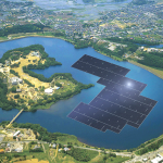 Rendering of the 13.7MW plant on the Yamakura Dam reservoir in Chiba Prefecture, Japan (Photo: Business Wire)