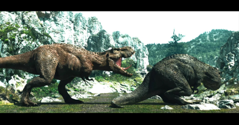The female dinosaur distances herself swiftly and becomes angry. (Photo: Business Wire)
