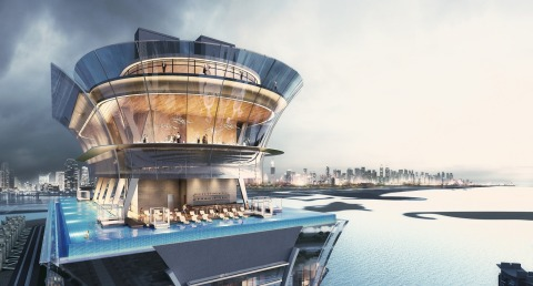 The Palm Tower's rooftop 360 degree infinity pool, restaurant and viewing deck (Photo: Business Wire)