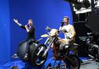 Billy Eichner and Butterfinger Motocross Biker Guy at Butterfinger's #BolderThanBold Big Game ad teaser shoot. Check it out at www.youtube.com/butterfinger. Saturday. (Diane Bondareff/AP Images for Butterfinger)