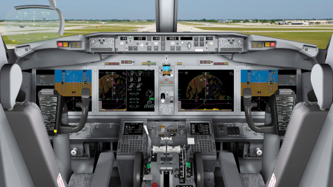The Boeing 737 MAX will feature four Rockwell Collins large-format, 15.1-inch LCD displays (Photo: Business Wire).