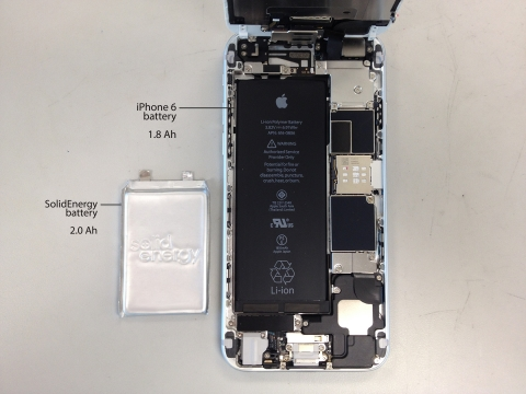 same capacity half the size (SolidEnergy cell on the left, iPhone 6 cell on the right) (Photo: Busin ...