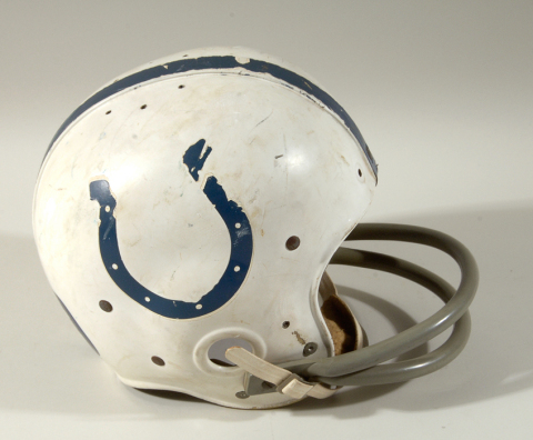 This Johnny Unitas Baltimore Colts professional model football helmet (est. $40,000-$60,000) is being offered by Hunt Auctions as part of the Super Bowl 50 Live Auction event, with online bidding provided by Invaluable.com. (Photo: Business Wire)