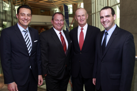 Hilton Worldwide (NYSE: HLT) and Atlantica Hotels announced today the signing of an exclusive management license agreement to develop Hilton Garden Inn hotels in Brazil. Photographed from left to right: Eduardo Rodriguez Suarez, managing director, development - Brazil & the Southern Cone, Hilton Worldwide; Paul J. Sistare, founder and CEO of Atlantica Hotels; Ted Middleton, senior vice president, development - Latin America, Hilton Worldwide; and Ricardo Bluvol, vice president development, Atlantica Hotels. (Photo: Business Wire)