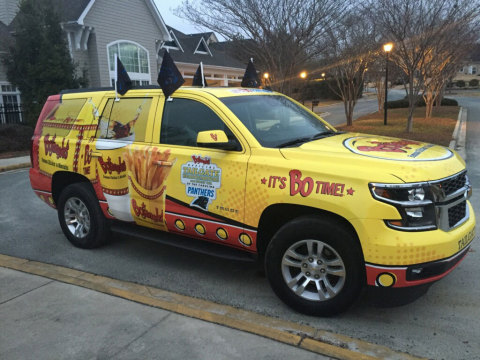 Bojangles' branded vehicle, co-piloted by two unassuming junior marketing staffers Cliff and Colby, departed early Monday from the Company's home base in Charlotte, NC and plans to stop at several Bojangles' restaurants, college campuses and national landmarks on the way to Santa Clara. #Tea4PantherNation (Photo: Business Wire)