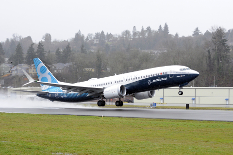 The 737 MAX 8 took to the skies for its First Flight Friday from Renton Field near Boeing's 737 Final Assembly plant in Renton, Wash. (Photo: Boeing)