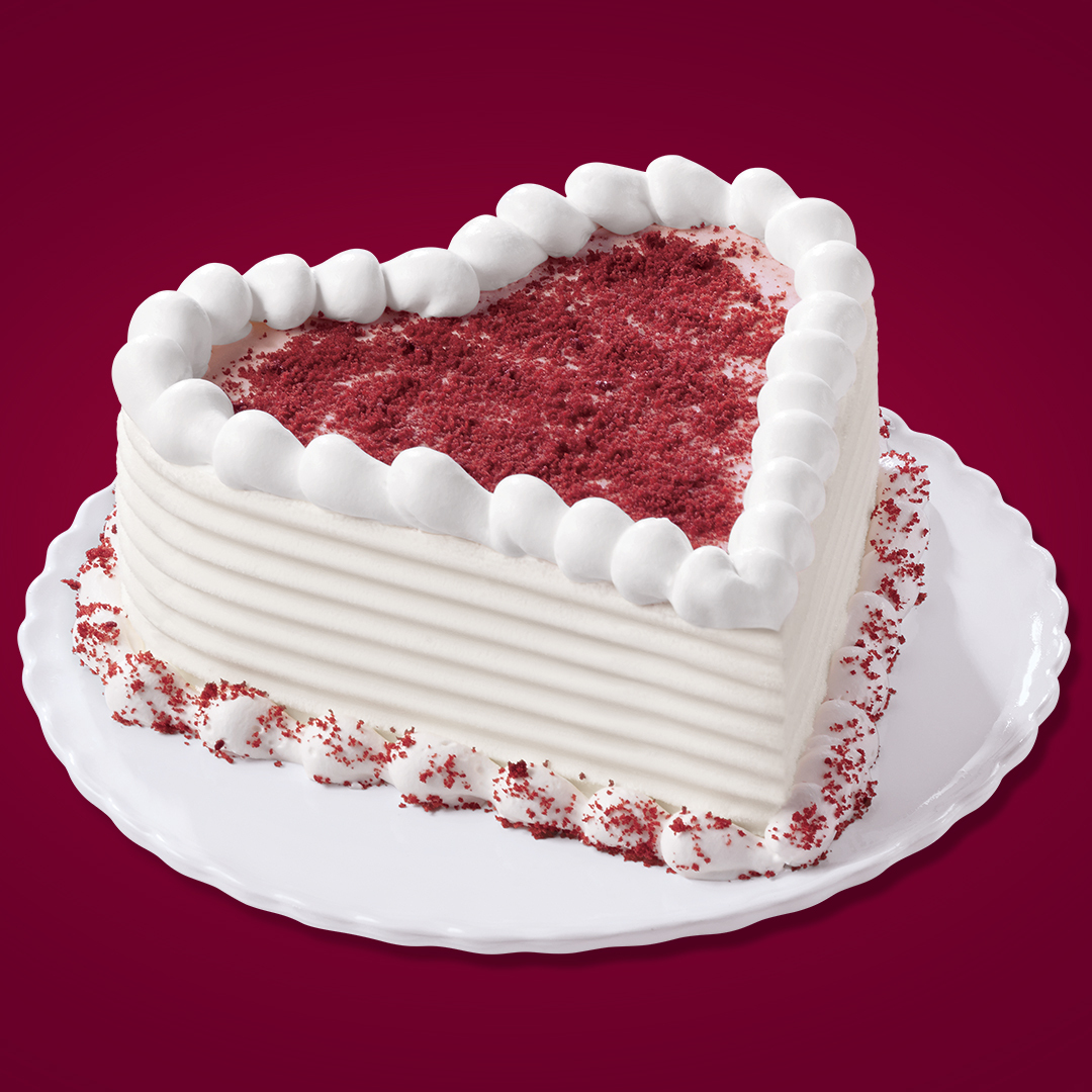 The DQ Red Velvet Blizzard Cupid Cake includes creamy vanilla soft serve blended with red velvet cake pieces and cream cheese frosting. Starting at $9.99, fans can order the Red Velvet Blizzard Cupid Cake at DQCakes.com or by visiting or calling a participating DQ store or DQ Grill & Chill® restaurant. (Photo: Business Wire)