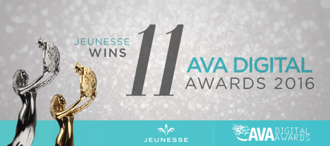 Jeunesse Global is bestowed 3 Platinum, 4 Gold and 4 Honorable Mention awards for excellence in digital communications.  (Graphic: Business Wire)