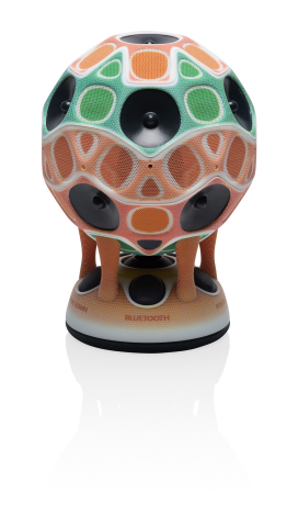 A working prototype of a stereo speaker produced on the Objet Connex3 3D Printer using Stratasys Creative Colors Software, Powered by the Adobe 3D Color Print Engine (Photo: Business Wire).