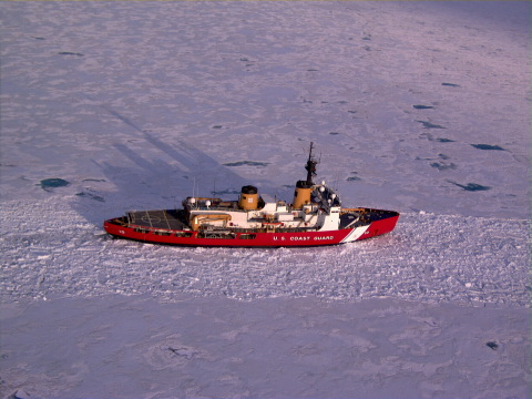 The United States Coast Guard Polar Star icebreaker near Antarctica as viewed from the AeroVironment ...